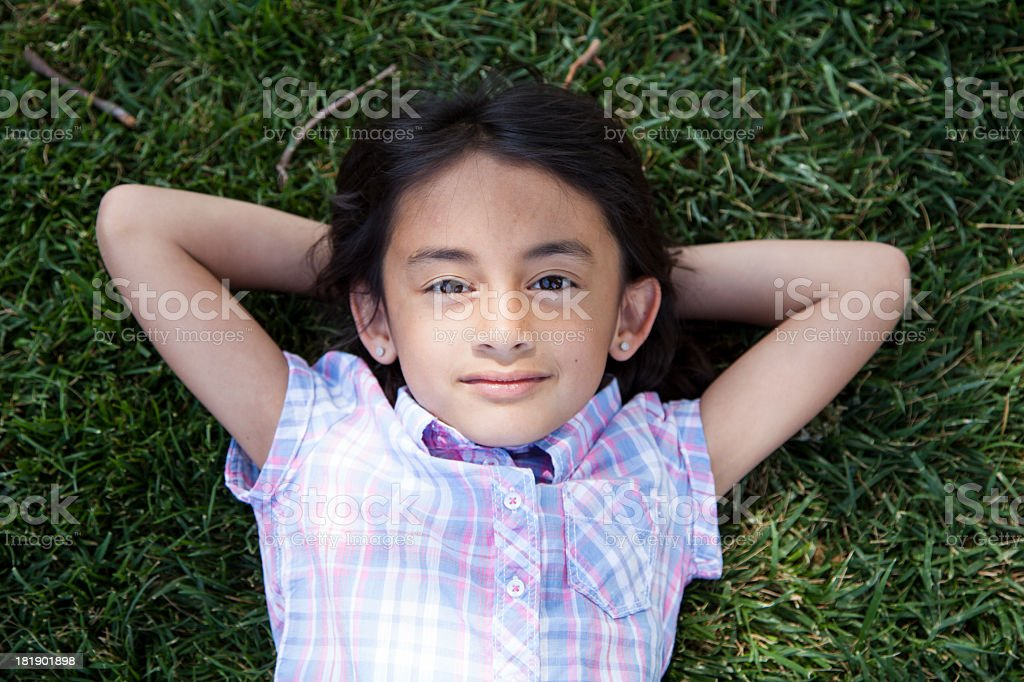 Cute 6 year old girl outside royalty-free stock photo