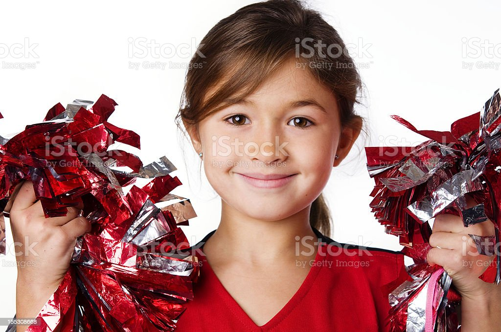 Cute adorable little cheerleader stock photo