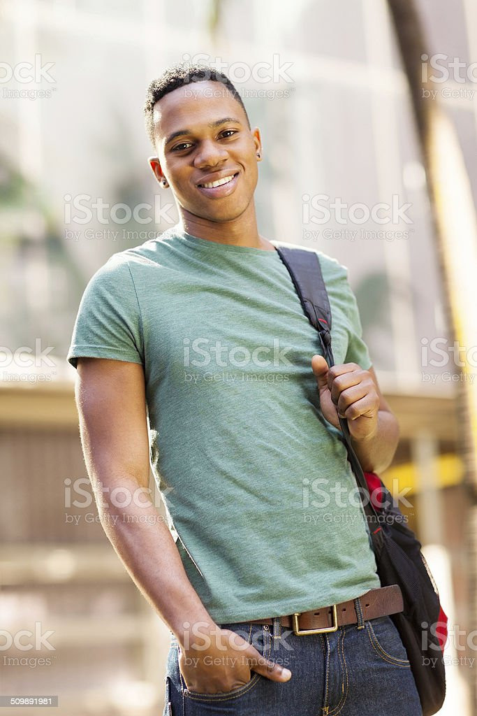cute african american college boy stock photo