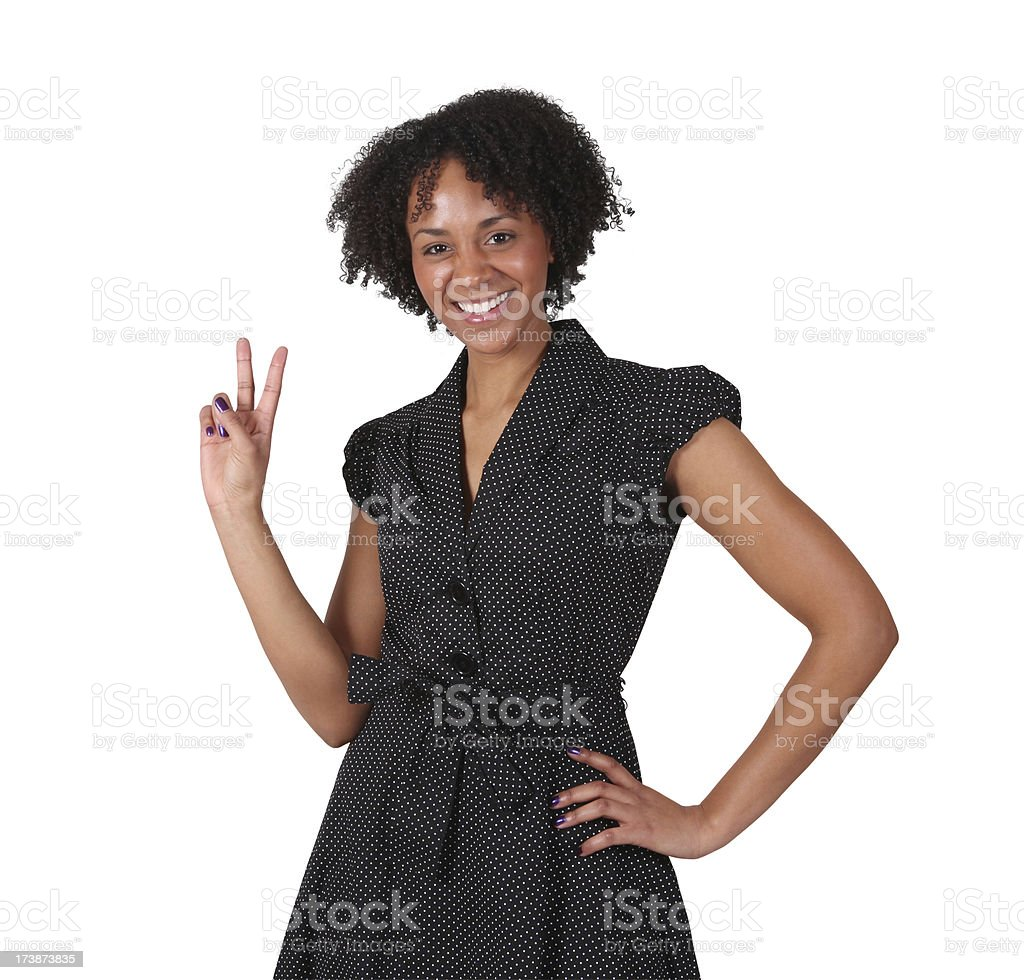 Cute African American Girl Giving Peace Sign royalty-free stock photo