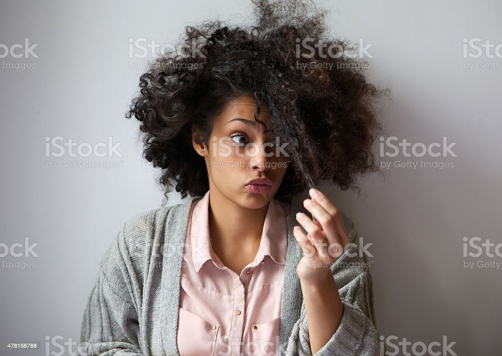 Cute african american girl with afro hairstyle stock photo