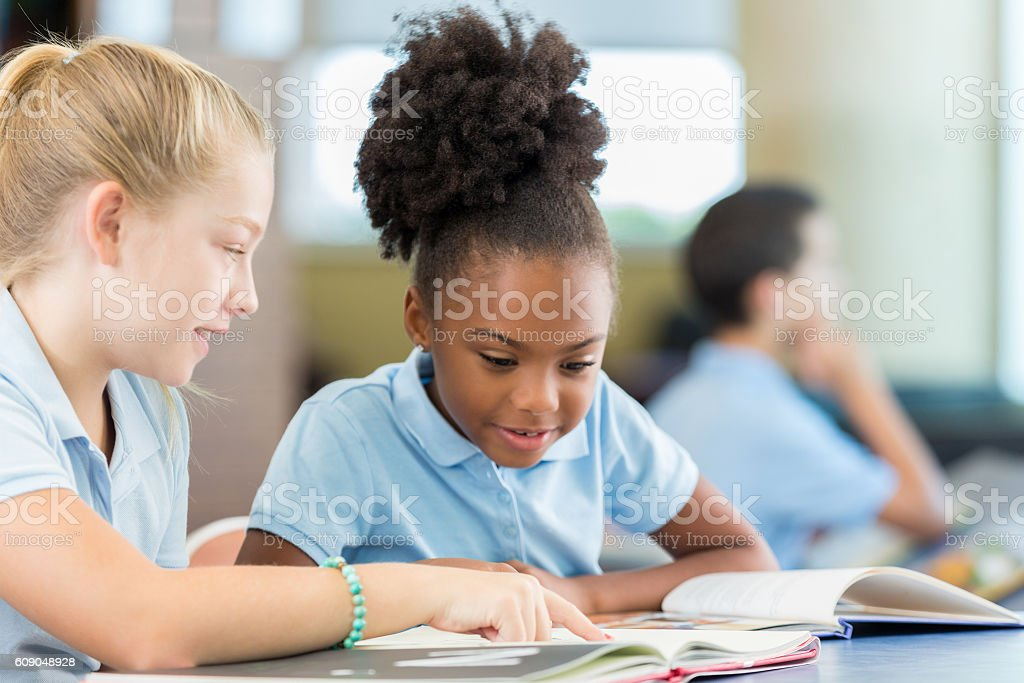 Cute African American schoolgirl reading a book with Caucasian friend stock photo