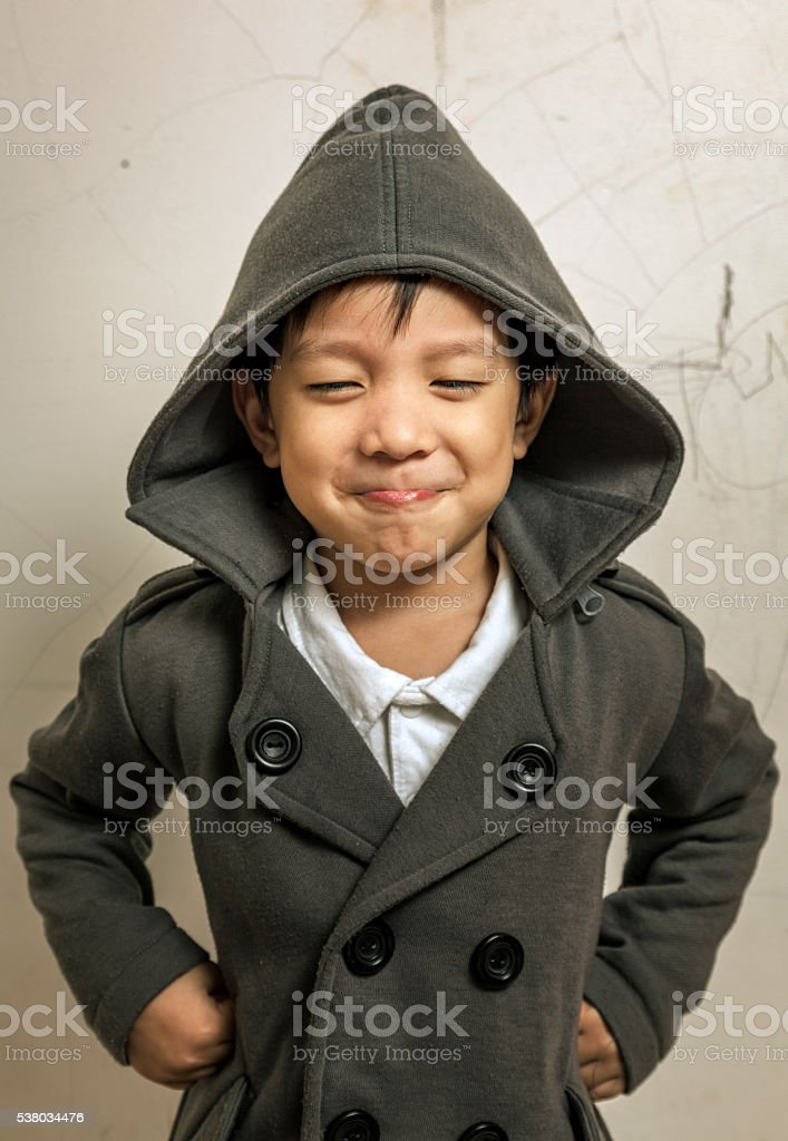 Cute and angry kid stock photo