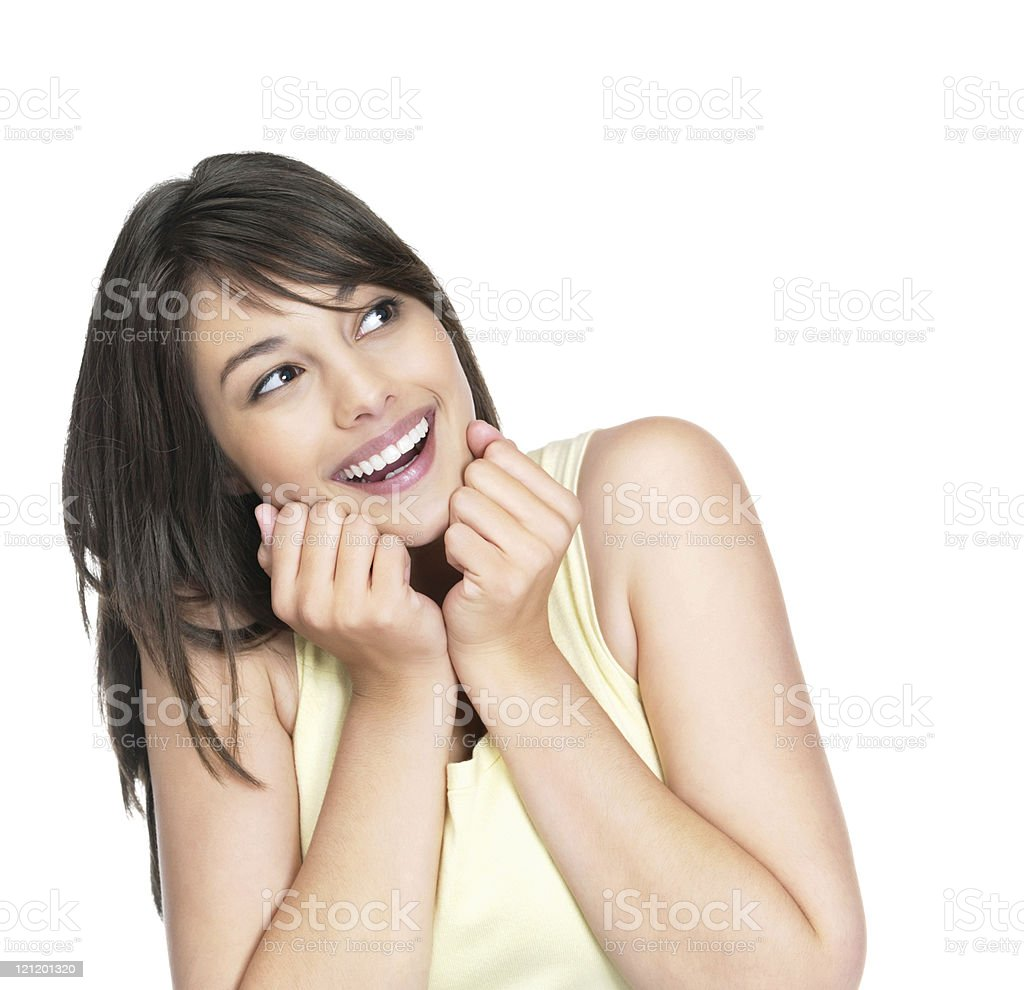 Cute and smiling young woman looking at copyspace royalty-free stock photo