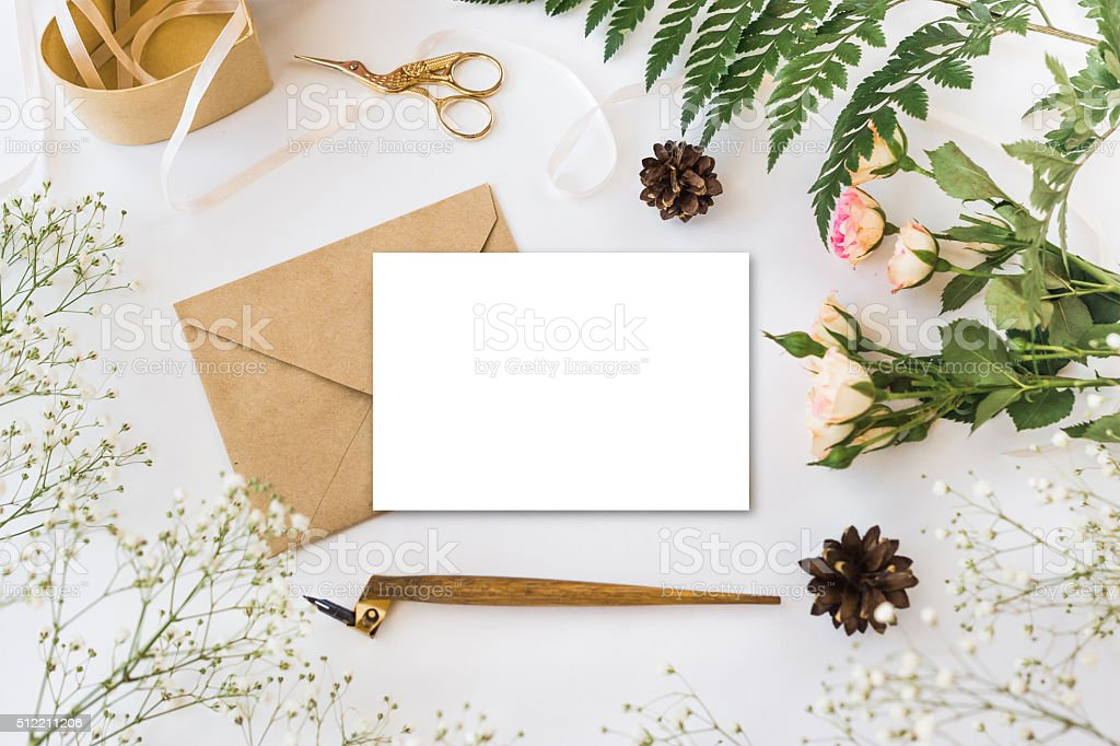 Cute and stylish branding mockup photo stock photo
