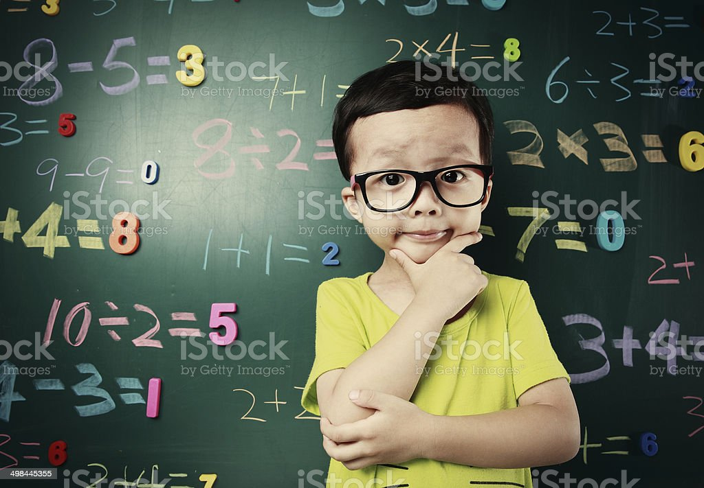 Cute asia children do arithmetic stock photo