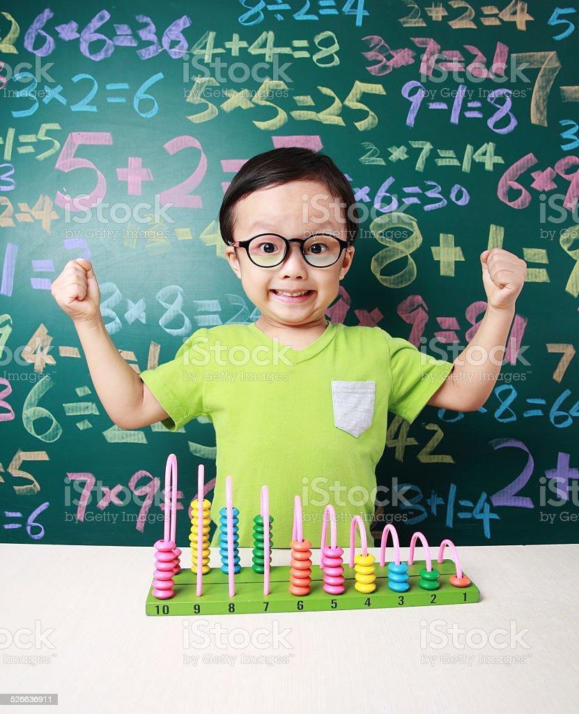 Cute asia children do arithmetic stock photo
