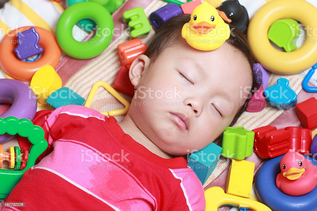 Cute Asian baby sleeping royalty-free stock photo