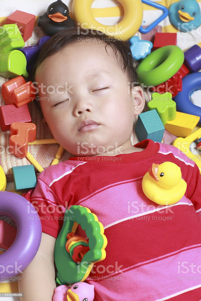 Cute Asian baby sleeping royalty-free stock photo