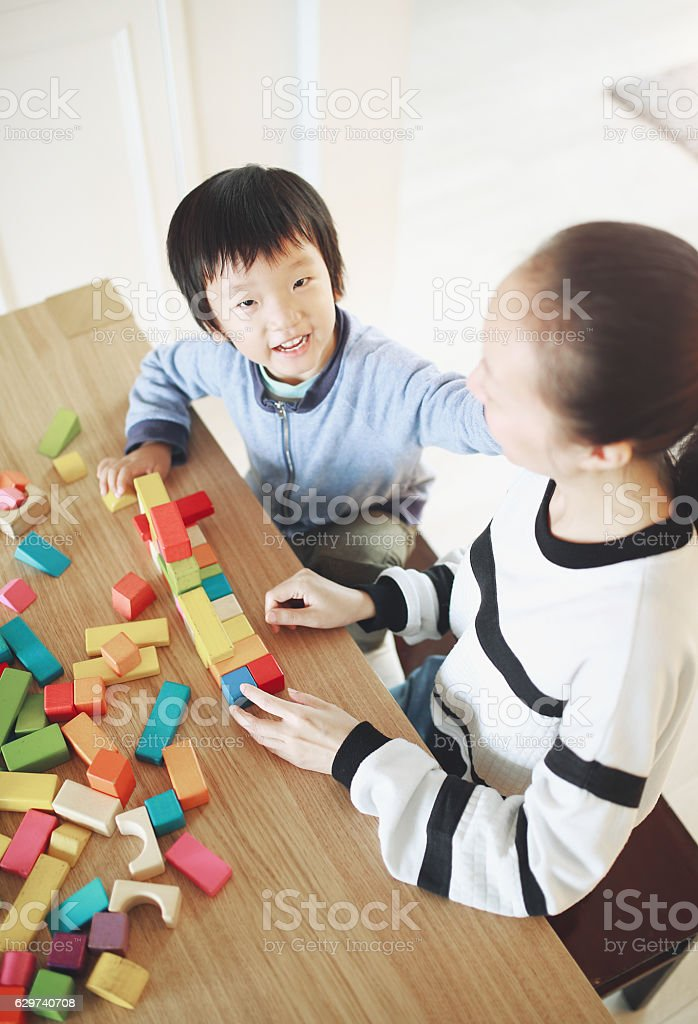 Cute asian Children playing with blocks stock photo