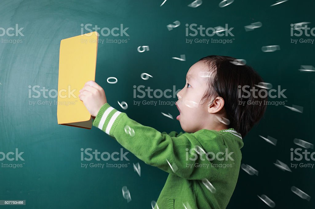 Cute asian Children with books stock photo