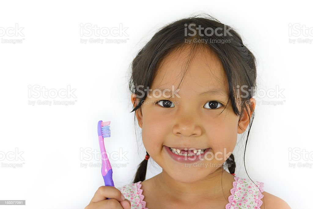 cute asian girl and toothbrush of thailand stock photo