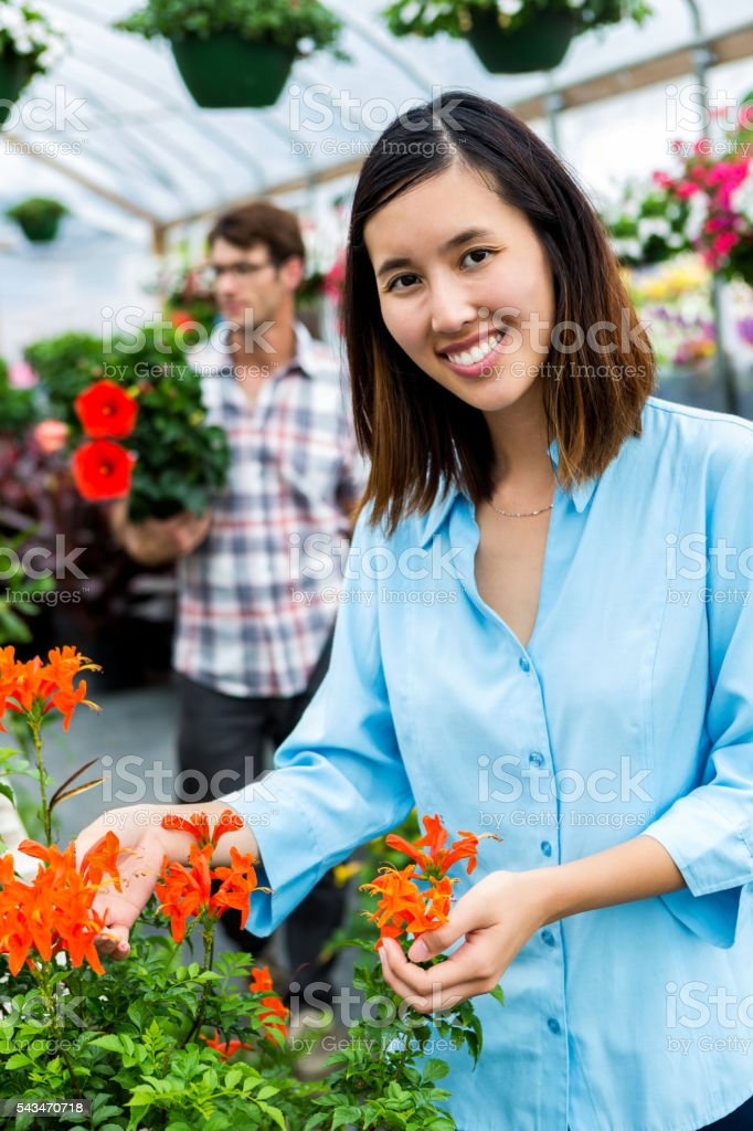 Young Vietnamese woman enjoys herself as she looks at red flowers in...