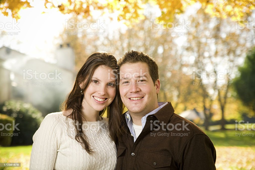 cute autumn couple royalty-free stock photo
