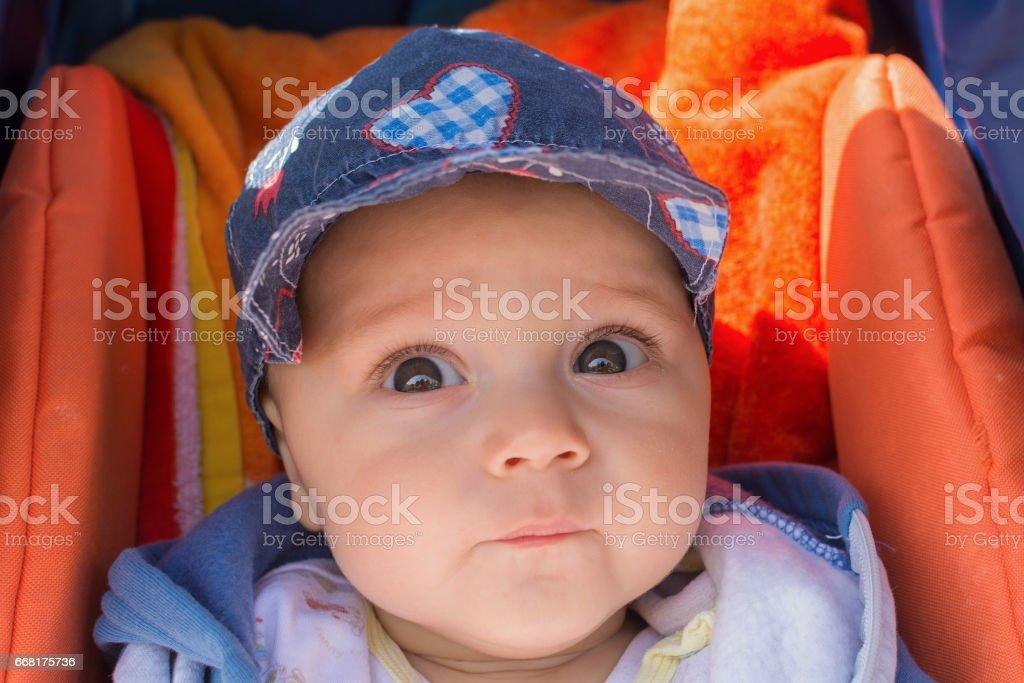 Cute baby boy in a stroller stock photo