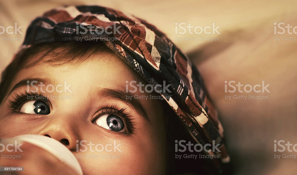 Cute baby eating stock photo