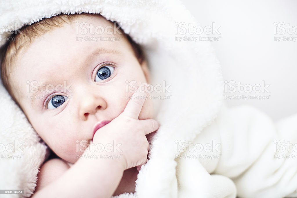 Cute Baby Girl in White royalty-free stock photo