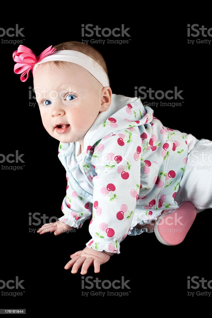 Cute Baby Girl learning to crawl royalty-free stock photo