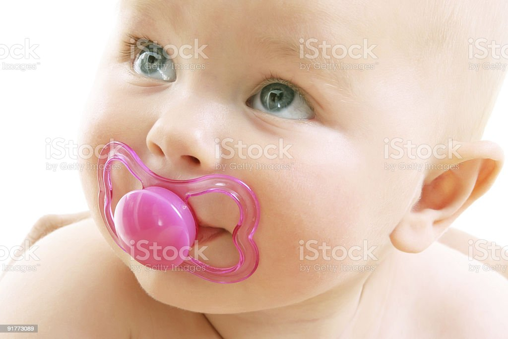 cute baby girl over white background stock photo