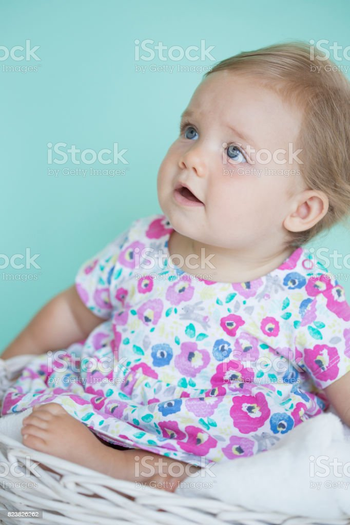 Cute baby in basket stock photo