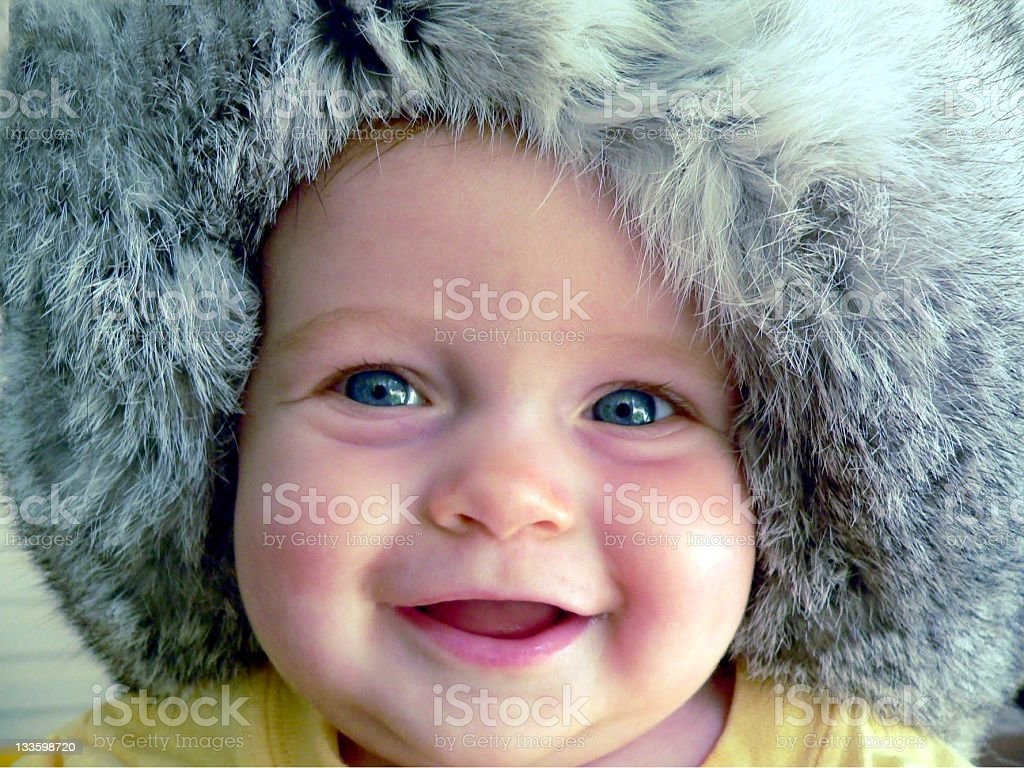 Cute Baby in Russian Hat royalty-free stock photo
