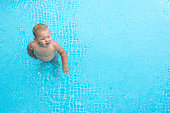 cute baby in the swimming pool