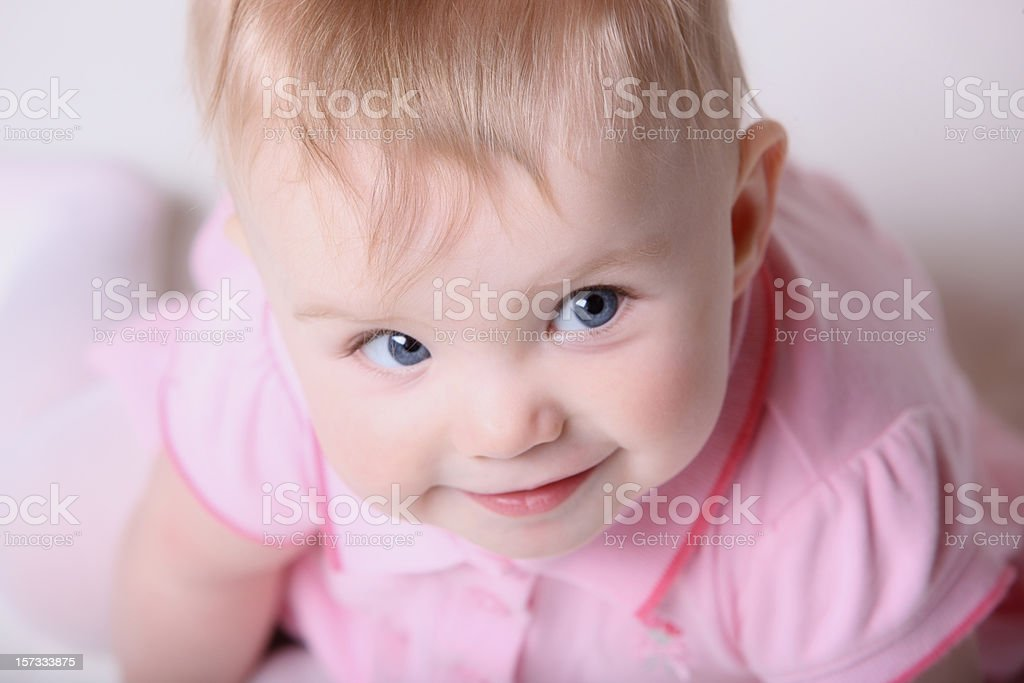 Cute Baby Looking Up to the right royalty-free stock photo