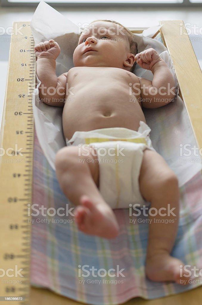 Cute baby lying in height meter stock photo