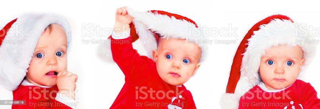 Cute Baby Santa Collection stock photo