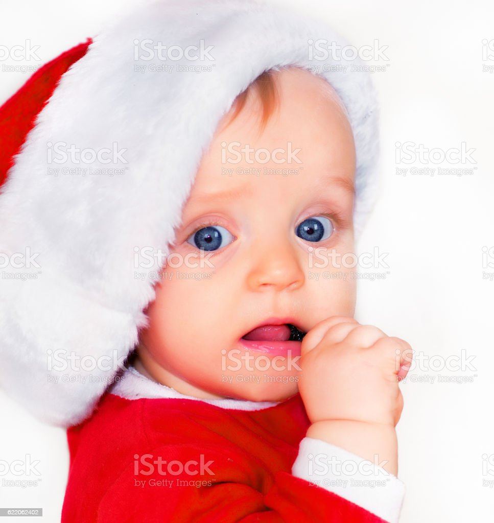 Cute Baby Santa stock photo