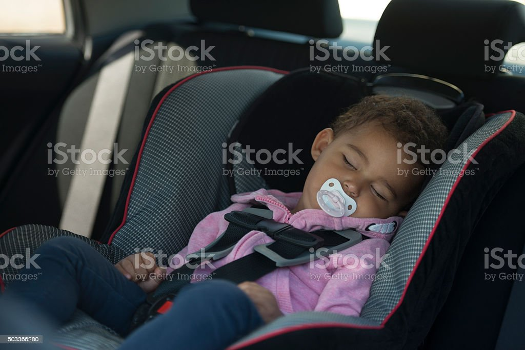 Cute baby sleeping in car chair. stock photo