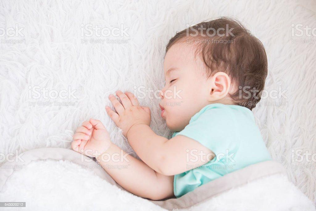 cute baby sleeping stock photo