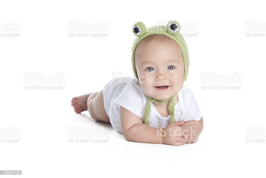 Cute Baby Wearing Knit or Crochet Frog Hat royalty-free stock photo