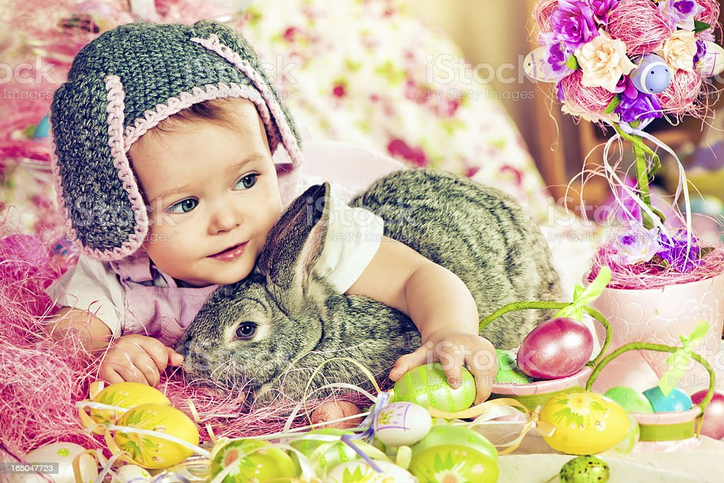 Cute baby with Easter bunny royalty-free stock photo