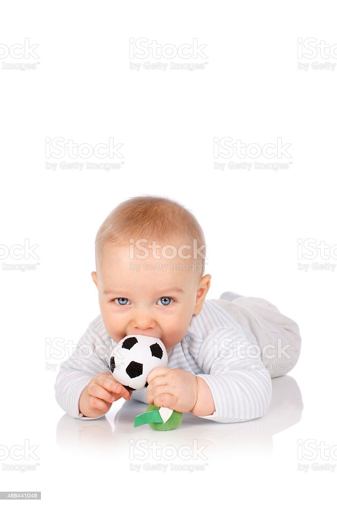 Cute baby with soccer ball stock photo