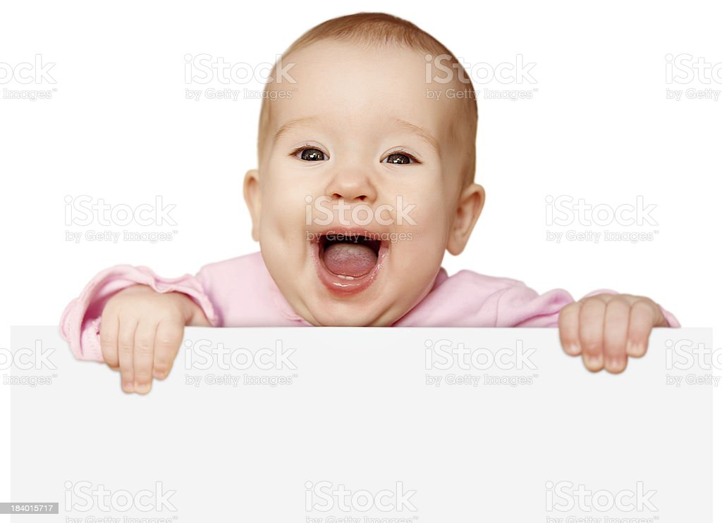cute baby with white blank banner isolated stock photo