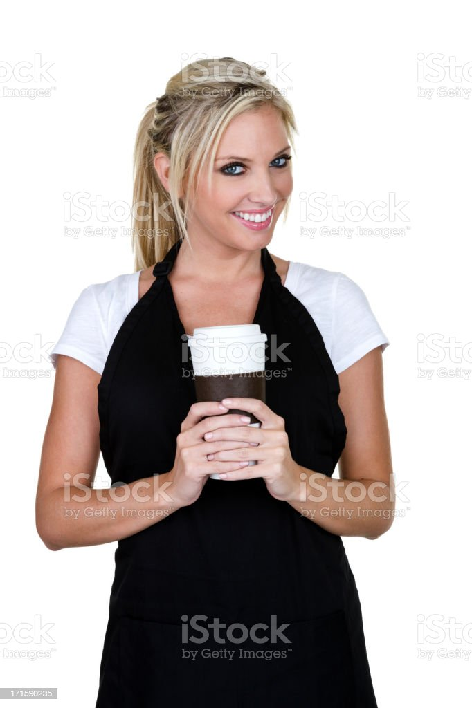 Cute barista holding a to go coffee cup royalty-free stock photo