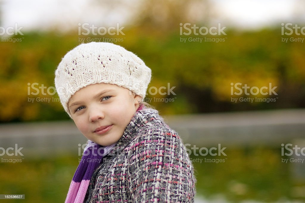 cute beautiful teen girl in white beret royalty-free stock photo