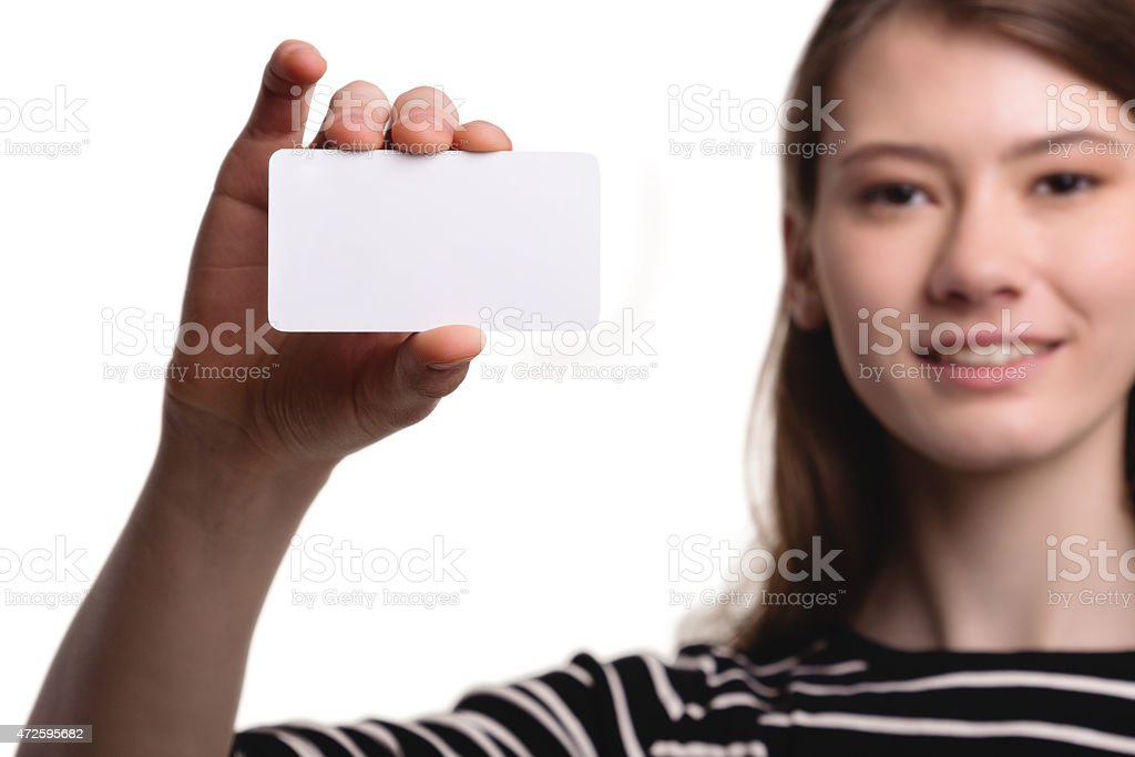 Cute Beautiful Woman Showing Blank Business Card Stock Image stock photo