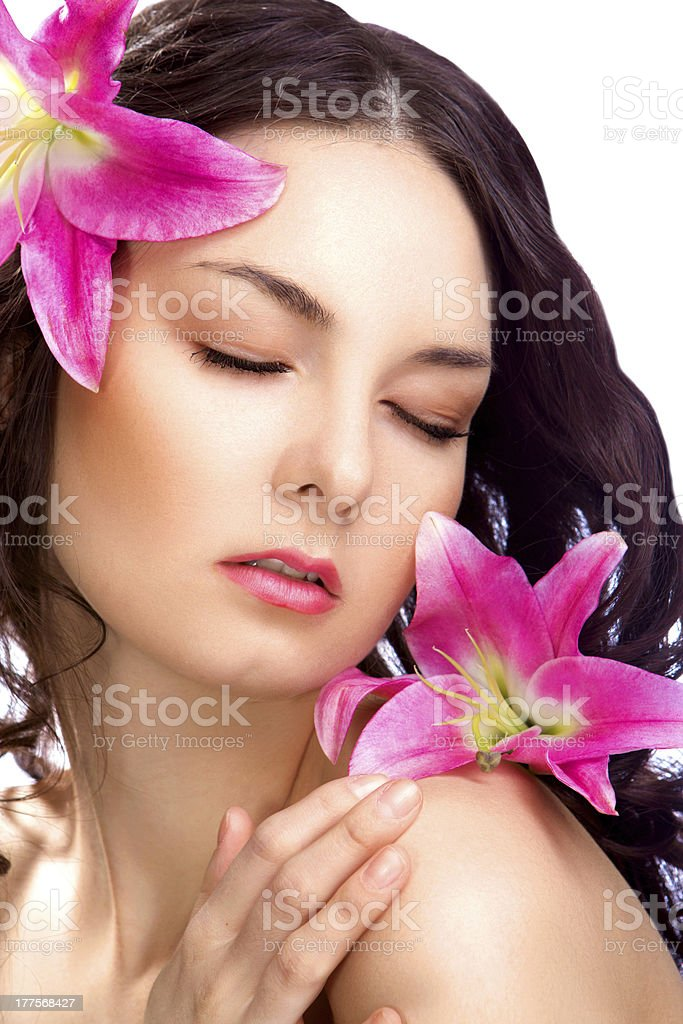 cute beauty woman with vibrant flower isolated royalty-free stock photo