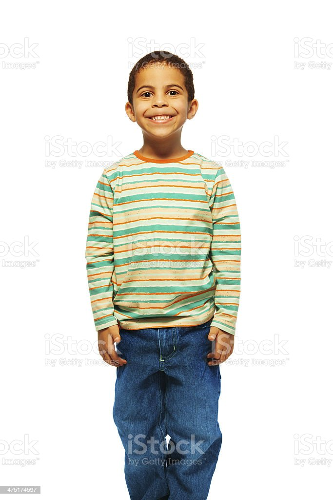 Cute black 5 years old boy stock photo