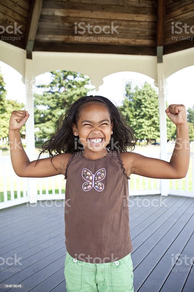 cute black girl goofing around stock photo