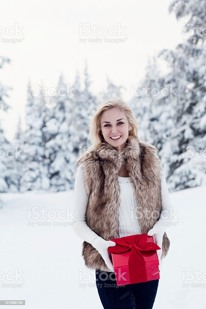 Beautiful Young Woman with Christmas Gift in Snow, Copy Space stock photo