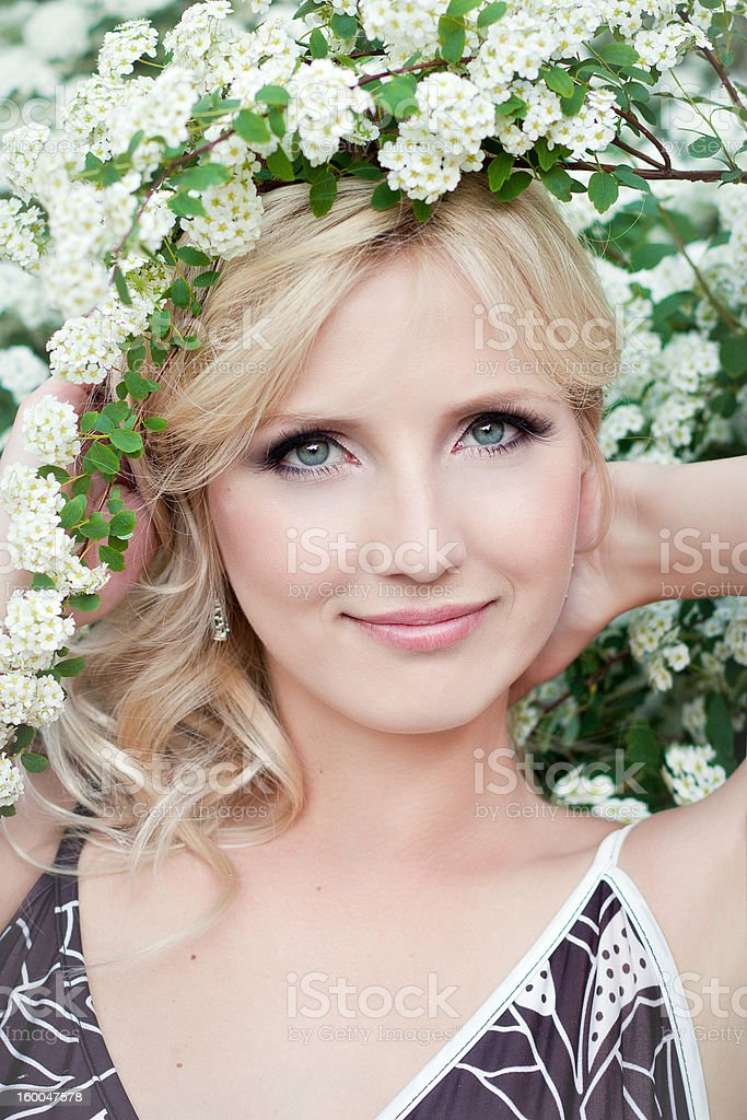 cute blonde with flowers royalty-free stock photo