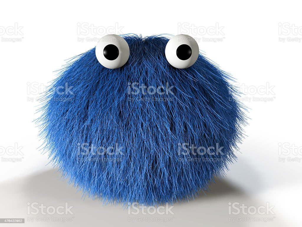 Cute blue furry monster stock photo