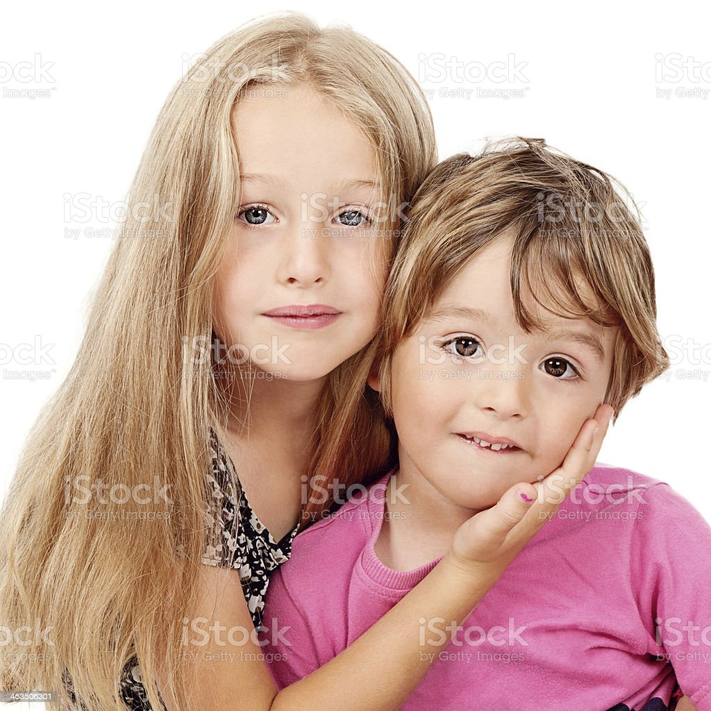 Cute Borther and Sister against White stock photo