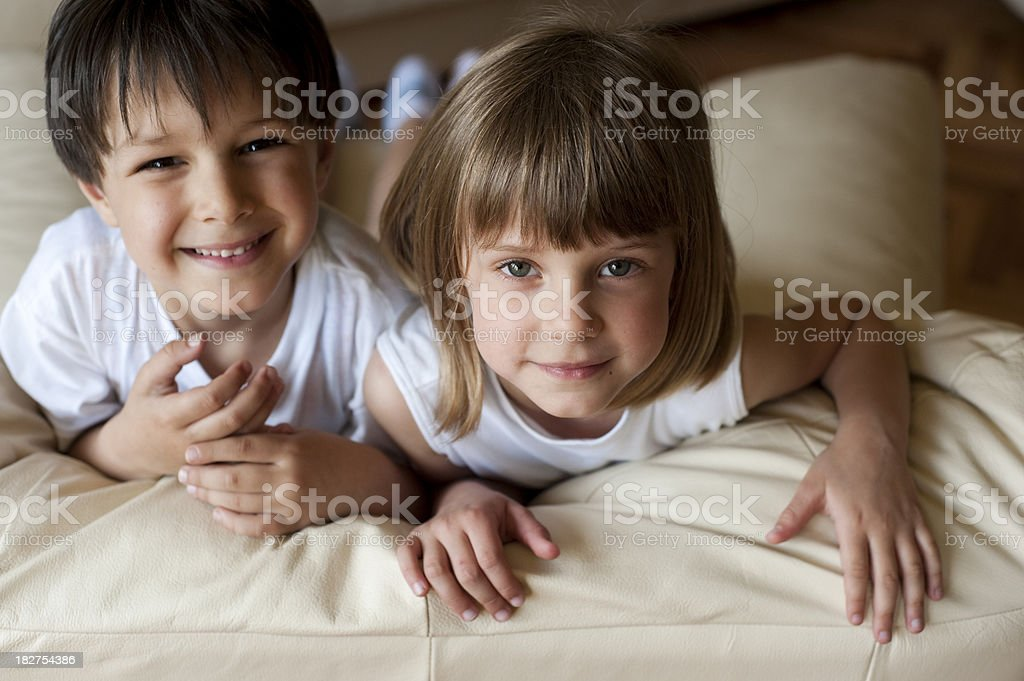 Cute boy and girl stock photo