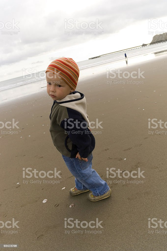 Cute Boy at Beach stock photo