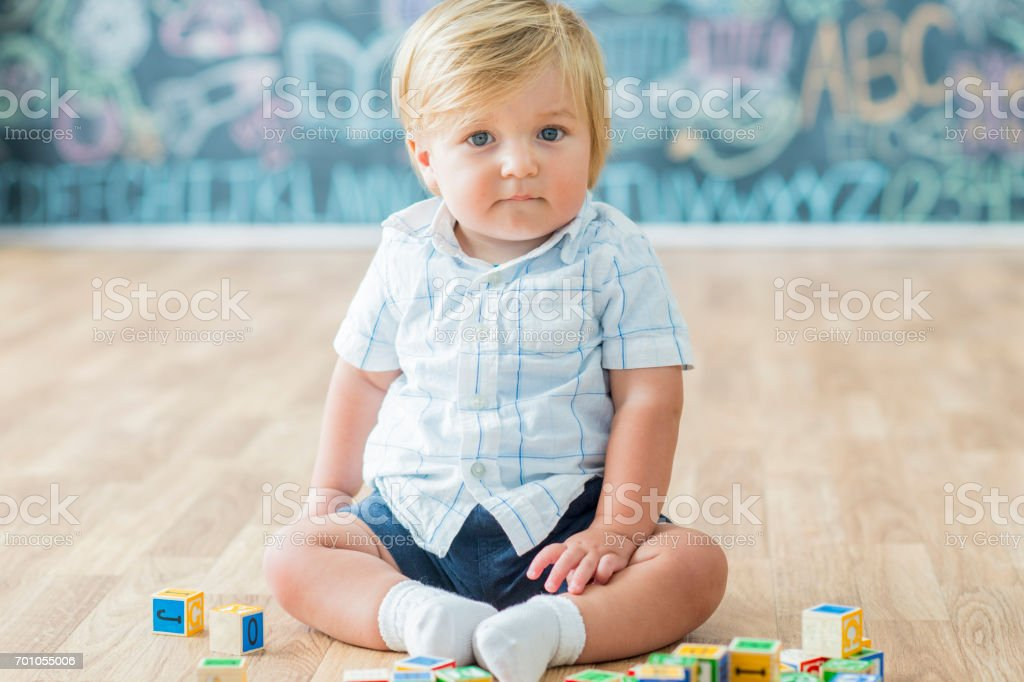 Cute Boy at Daycare stock photo