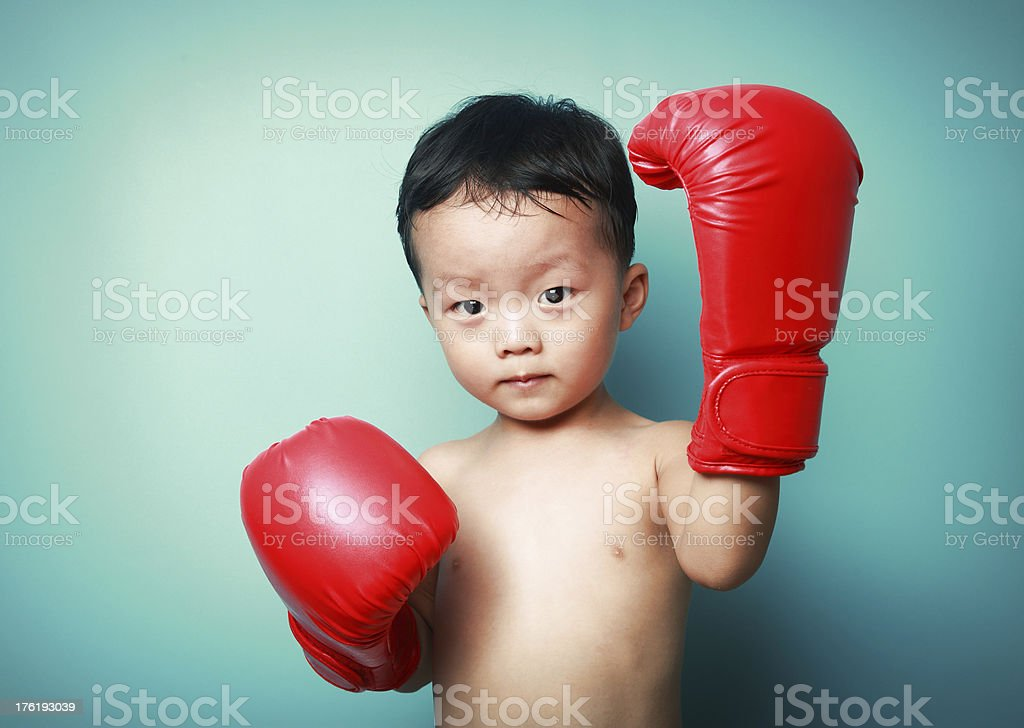 cute boy boxing royalty-free stock photo